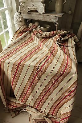 Antique French ticking linen cotton mix woven herringbone weave Vibrant c1880 3