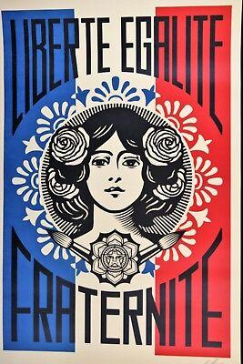 SHEPARD FAIREY Liberté Egalité Fraternité LITHO OFFSET SIGNEE OBEY GIANT MINT 7