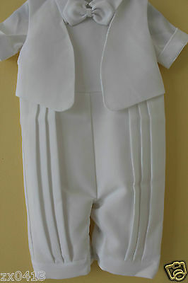 Baby White Romper Faux Tuxedo Outfit 9/12/18/24MOS Christening Wedding Functions