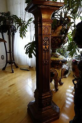 19C English Gothic Carved Oak Gilded Polychrome Pedestal 9