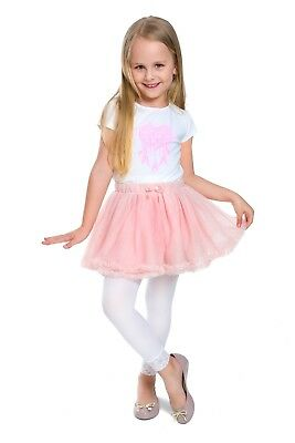 Girls Leggings with Lace Breathable Soft Full Length Kids White Age 1-13 6011 3