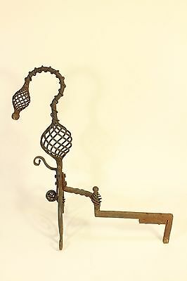 Antique Tiffany Roycroft Style Twisted Spiral Wrought Iron Fireplace Andirons 3