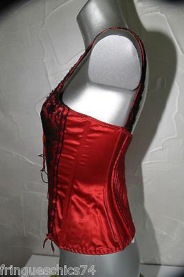 luxueux bustier soie dentelle rouge noir JANET REGER LONDON T 36 valeur 440€ 2