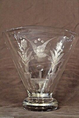 Big mid century Scandinavian art deco vase signed Julie engraved ornate antique 9