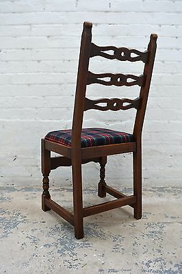 6 Antique rustic farmhouse high back upholstered dining chairs in tartan wool 6