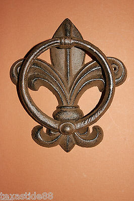 (1) Pc, Vintage Look, Fleur De Lis Door Knocker, Cast Iron, Fleur De Lis Decor 2