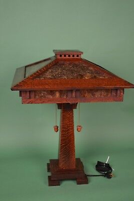 Mission Arts and Crafts Style Quarter Sawn Oak Tall Table Lamp Mica Shade Panels 3
