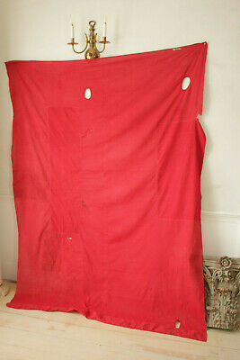 Antique Fabric Red & Black Polka dot French patched textile day bed canopy 5
