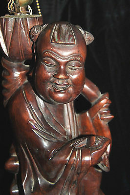 "Exclusive Large Antique Chinese Rosewood Carved Lamp Man with Bird 19th c 19""T 2"