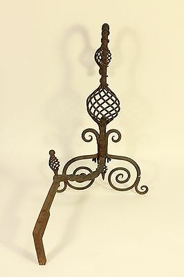 Antique Tiffany Roycroft Style Twisted Spiral Wrought Iron Fireplace Andirons 5