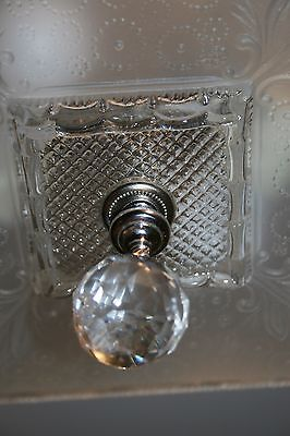 Antique large square frosted glass art deco custom light fixture chandelier 9
