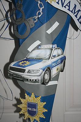 Zuckertüte Polizei Schultüte Neu /& Handarbeit !!! tolles Design Polizeiwagen