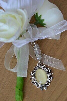 Bridal memory memorial photo charm bouquet buttonhole flower wedding bride groom 2