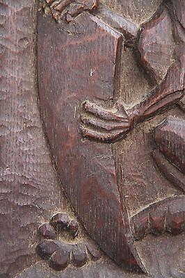 19C English Carved Oak Welsh Winged Dragon Griffin/Gargoyle/Shield 7