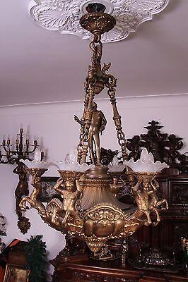 Vintage Italian Bronze Fantasy Centaur Castle Chandelier 3