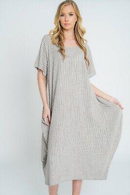 New Ladies Lagenlook Italian Quirky Striped Linen 2 Pocket Scoop Neck Long Dress 2