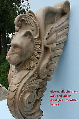 Wooden stairs Oak Decor, unique carved gryphon statue, decorative element. 4