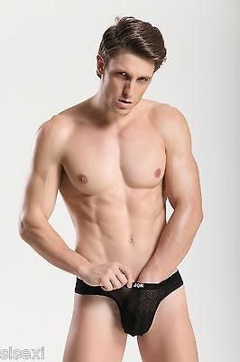Slip String Transparent Noir Sexy Homme Viril Thong Man Underwear Uomo Lenceria 2