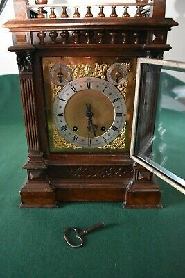 Lovely Antique Winterhalder & Hofmeier Bracket Clock [Oak Cased] 3