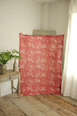 Antique French toile de Normandy c 1820 red quilted textile linen backed 3