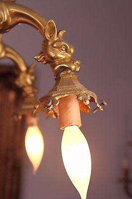 Vintage French Gothic Fantasy Winged Dragon/Griffin Bronze Castle Chandelier 7