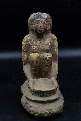 Vintage Statue of Egyptian Woman Grinding Grain rare antique stone made in Egypt 2