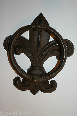 (1) Pc, Vintage Look, Fleur De Lis Door Knocker, Cast Iron, Fleur De Lis Decor 3