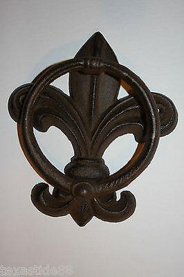 (1) Pc, Vintage Look, Fleur De Lis Door Knocker, Cast Iron, Fleur De Lis Decor 3