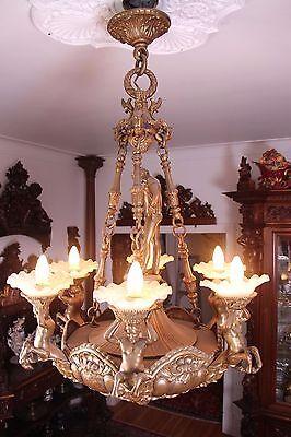 Vintage Italian Bronze Fantasy Centaur Castle Chandelier 11
