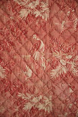 Antique French toile de Normandy c 1820 red quilted textile linen backed 11