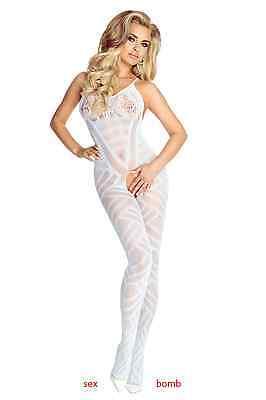 Sexy Tutina Bianca Aperta Micro Rete Pizzo Catsuit lingerie fashion GLAMOUR ! 2