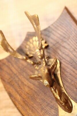 Antique Vintage Stag Head Fox Wheatsheaf Brass Door Knocker Hunting Wood Plaque 12
