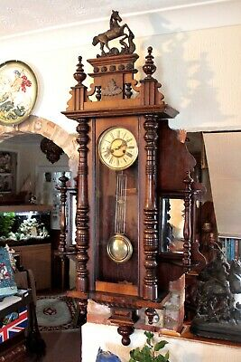 Antique Extra Rare German 8-Day Striking Wall Clock with Side Mirrors, 19th C 3