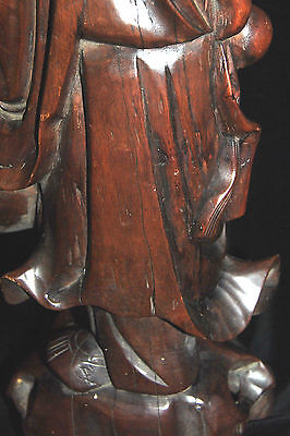 "Exclusive Large Antique Chinese Rosewood Carved Lamp Man with Bird 19th c 19""T 8"