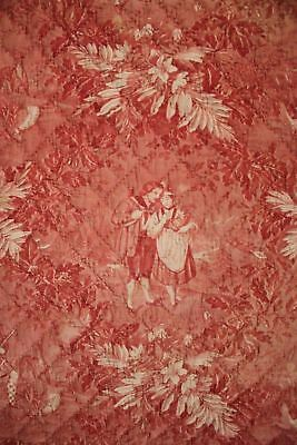 Antique French toile de Normandy c 1820 red quilted textile linen backed 8