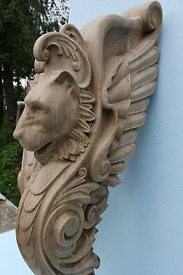 Wooden stairs Baluster Newel, oak carved  gryphon statue, decorative element. 3