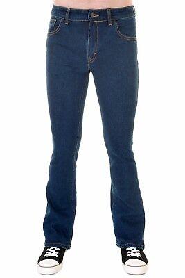 Mens Run & Fly 60s 70s Vintage Blue Stonewash Stretch Denim Slim Bootcut Jeans 2