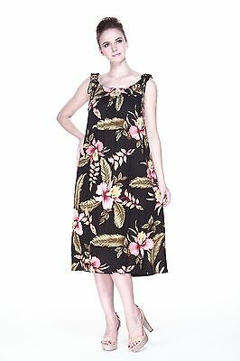 PLUS SIZE MAXI Dress Long Melani Tropical Luau Dress Cruise Hawaiian Black  Flora