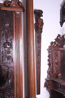 19C Italian Carved Walnut Classic Caryatid Wall Pilasters Architectural Element 2