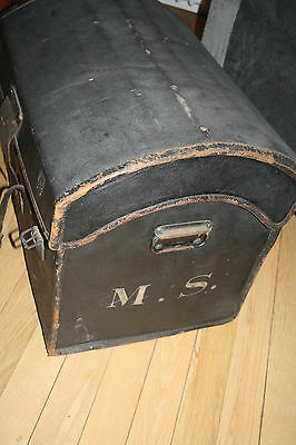 dome-top leather canvas coach trunk very early 19th century  FILM PROP ideal 11