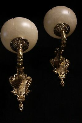 pair of  spanish Alabaster wall lights sconces solid  bronze candelabra 4