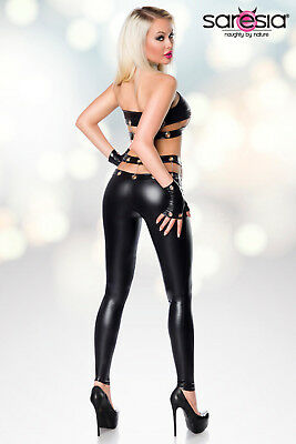 Sexy Wetlook Set Top + Leggings + Handschuhe Lederlook Gogo Schwarz XS S M L XL