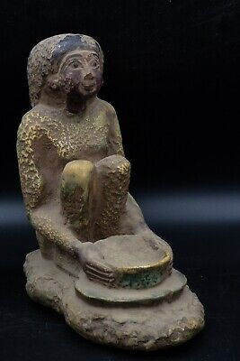 Vintage Statue of Egyptian Woman Grinding Grain rare antique stone made in Egypt 3