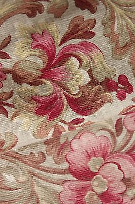 Fabric Antique Floral French printed cotton circa 1860 twill weave muted tones 11