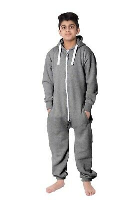 Kids Boys Girls Plain Hooded 1Onesie All in one Jumpsuit Playsuit Sizes 7-13 YRS 5