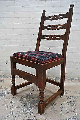 6 Antique rustic farmhouse high back upholstered dining chairs in tartan wool 5