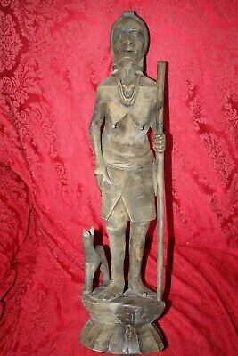 "Female XXL 24"" Antique Philippine Igorot Tribe Wood Carved Warrior Head Hunter 7"