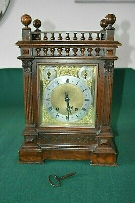 Lovely Antique Winterhalder & Hofmeier Bracket Clock [Oak Cased] 4
