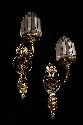 art deco sconces wall lights fixtures bronze handcrafted individually byartist 6
