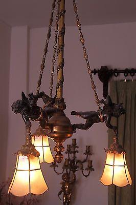 19C French Gilded Bronze Cherub Chandelier 2